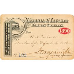 Virginia & Truckee Railway Company Annual Pass (1890) (Pictorial)