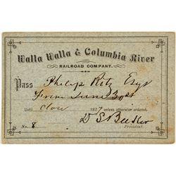 Walla Walla & Columbia River Railroad Co. Annual Pass (1877)