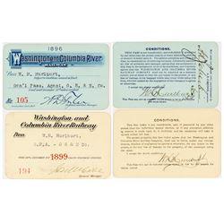Washington & Columbia River Railway Annual Passes (1896 & 1899)