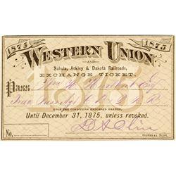 Western Union / Sabula, Ackley & Dakota Railroads Pass (1875)