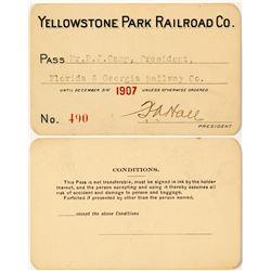 Yellowstone Park Railroad Co. Annual Pass (1907)
