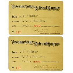 Yosemite Valley Railroad Co. Annual Pass (1909)