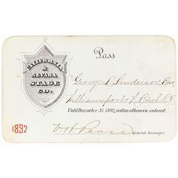 California & Nevada Stage Company Annual Pass (1892)