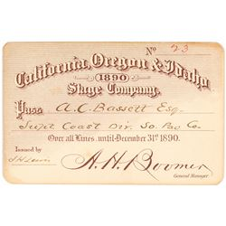 California, Oregon & Idaho Stage Company Annual Pass (1890)