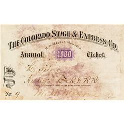 Colorado Stage & Express Company Annual Pass (1880)