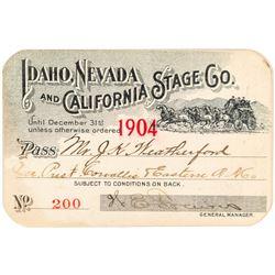 Idaho, Nevada & California Stage Company Pass (1904)