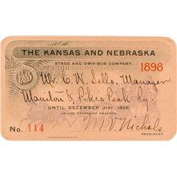 Kansas & Nebraska Stage & Omnibus Company Annual Pass (1898)