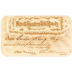 Mears System Toll Roads Stagecoach Annual Pass (1892)