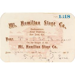 Mt. Hamilton Stage Company Annual Pass (1903)
