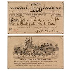 National Mail Company Stage Pass (1880)