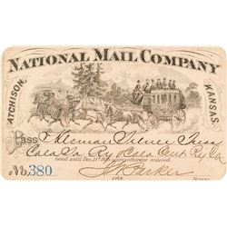 National Mail Company Stage Pass (1889)