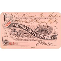 National Mail Company Stage Pass (1894)