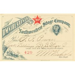 Northwestern Stage Company Annual Pass (1886) to Montana Indian Trader