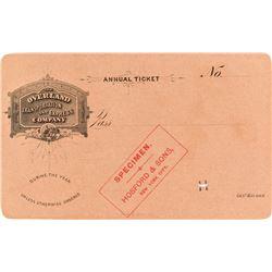 Overland Transportation & Express Company Pass (Specimen)