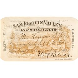 San Joaquin Valley Stage Company Annual Pass (1889)