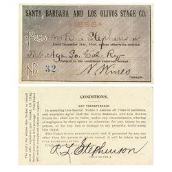 Santa Barbara & Los Olivos Stage Company Annual Pass (1896)