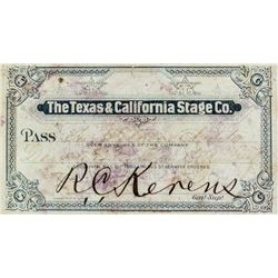 Texas & California Stage Company Annual Pass (1880)