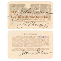 Twin Falls-Jerome Stage Line Annual Pass (1912)