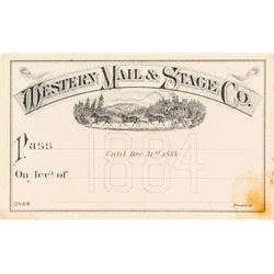 Western Mail & Stage Company Pass (1884)