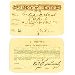 Columbia & Kootenay Steam Navigation Company Annual Pass (1896)