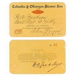 Columbia & Okanogan Steamer Line Annual Pass (1898)