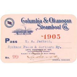 Columbia & Okanogan Steamer Line Annual Pass (1905)