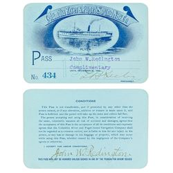 Columbia River & Puget Sound Navigation Co. Steamer Pass (1905) Issued to Indian War Scout/ Oregon H