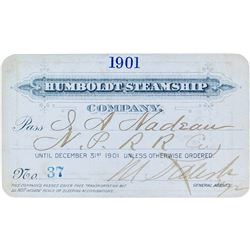 Humboldt Steamship Company Annual Pass (1901) (Alaska Gold Rush)