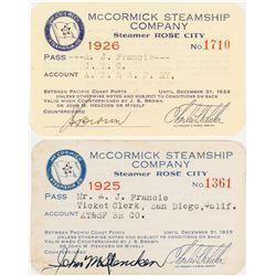 McCormick Steamship Company Annual Passes (Lumber)