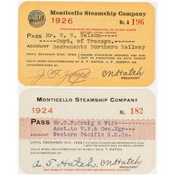 Monticello Steamship Co. Annual Passes (San Francisco Bay)