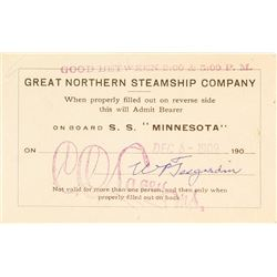 Northern Steamship Co. Pass for S.S. Minnesota (1909)