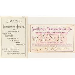 Northwest Transportation Company Steamer Passes (1871 & 1875) Signed by C.K. Peck (of Durfee & Peck,
