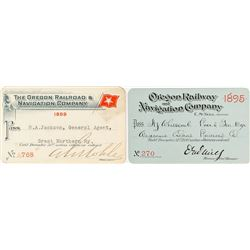 Oregon Railway & Navigation Company Steamer Passes (1895 & 1899)