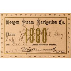Oregon Steam Navigation Company Annual Pass (1880)