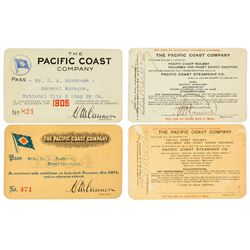 Pacific Coast Company Annual Steamer Passes (1904 & 1906)