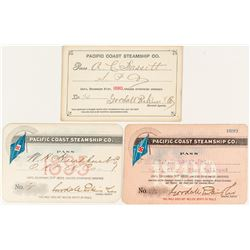 Pacific Coast Steamship Company Annual Pass Trio (1890s)
