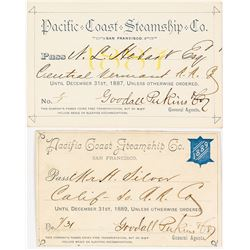 Pacific Coast Steamship Company Annual Passes (1887 & 1889)