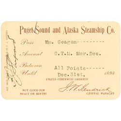 Puget Sound & Alaska Steamship Co. Annual Pass (1894)