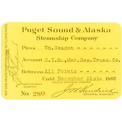 Puget Sound & Alaska Steamship Co. Annual Pass (1897) (Alaska Gold Rush)