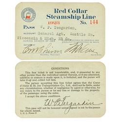 Red Collar Steamship Line Annual Pass (1923)