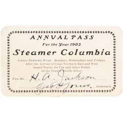Steamer Columbia Annual Pass (1902)