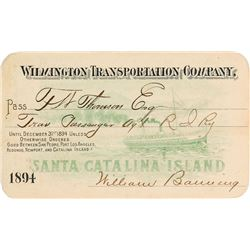Wilmington Transportation Company Steamer Pass (1894)