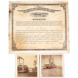 Steamboat Operator's License with Photos