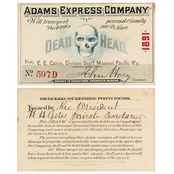 "Adams Express Company ""Dead Head"" / Frank Pass (1891)"