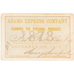 Adams Express Company Pass (1878)