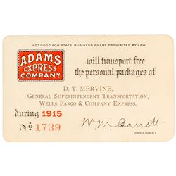 Adams Express Company Pass Issued to Wells Fargo Superintendent (1915)