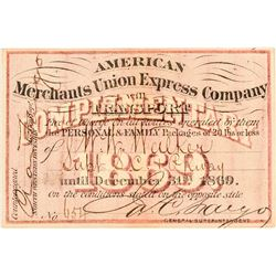 American Merchants Union Express Co. Annual Pass (1869)