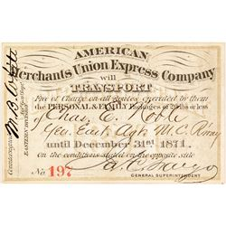 American Merchants Union Express Co. Annual Pass (1871)