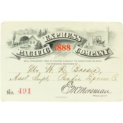 Pacific Express Company Annual Pass (1888) (Pictorial) Issued to Assistant Superintendent