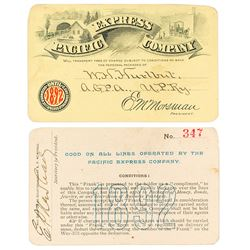 Pacific Express Company Annual Pass (1892) (Pictorial)